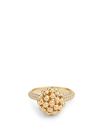 MARIA CANALE Flapper 18K Gold Ball Ring With Diamonds Women's Metallic