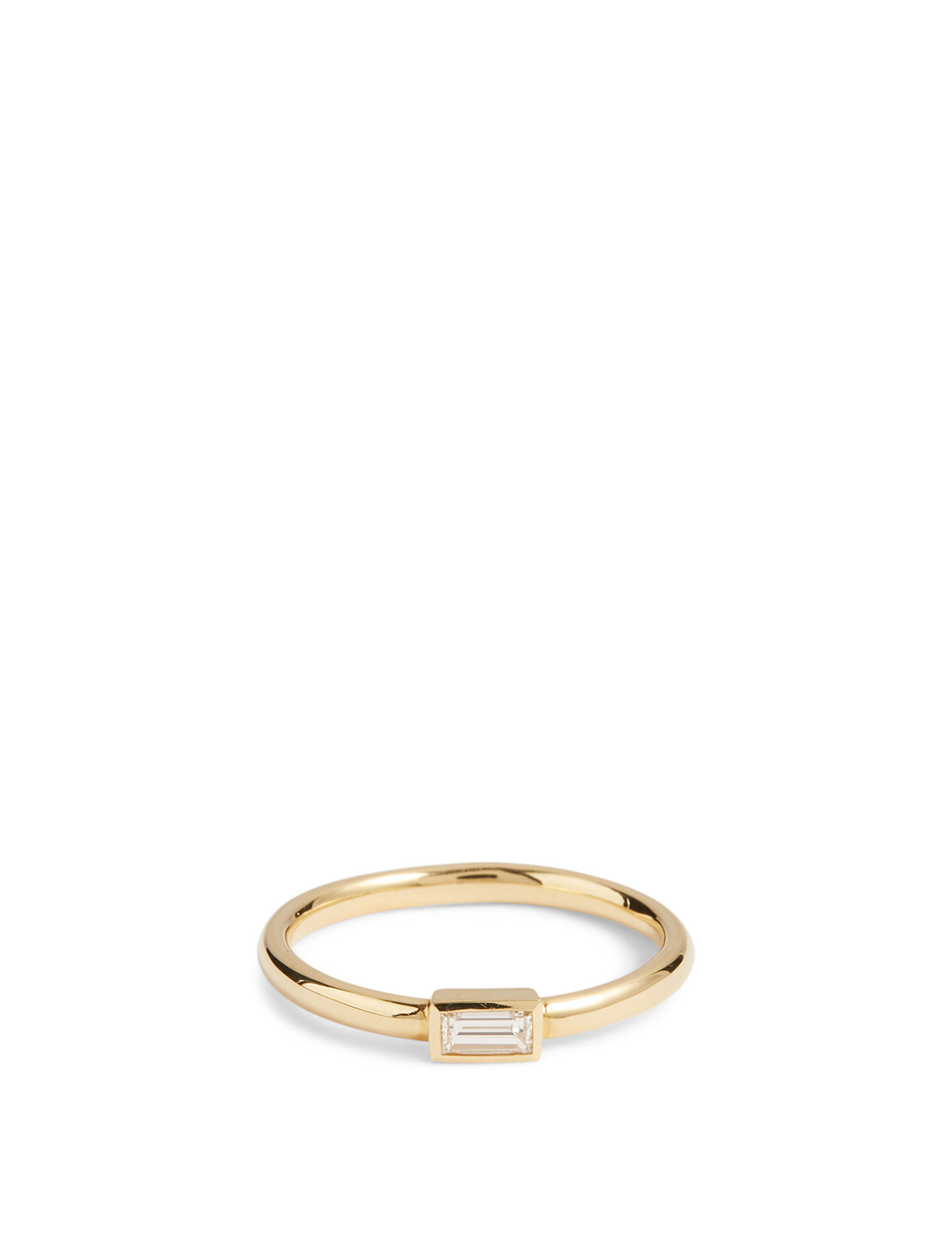 MARIA CANALE Essentials 18K Gold Horizontal Baguette Stacking Ring With Diamond Women's Metallic