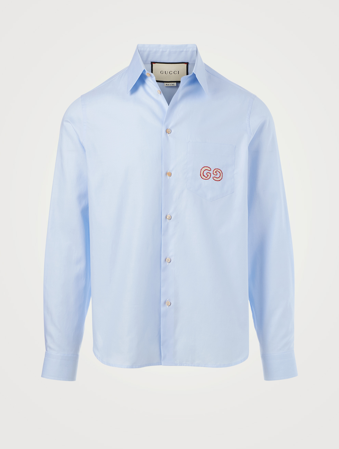 GUCCI Oxford Cotton Shirt With GG Men's Blue