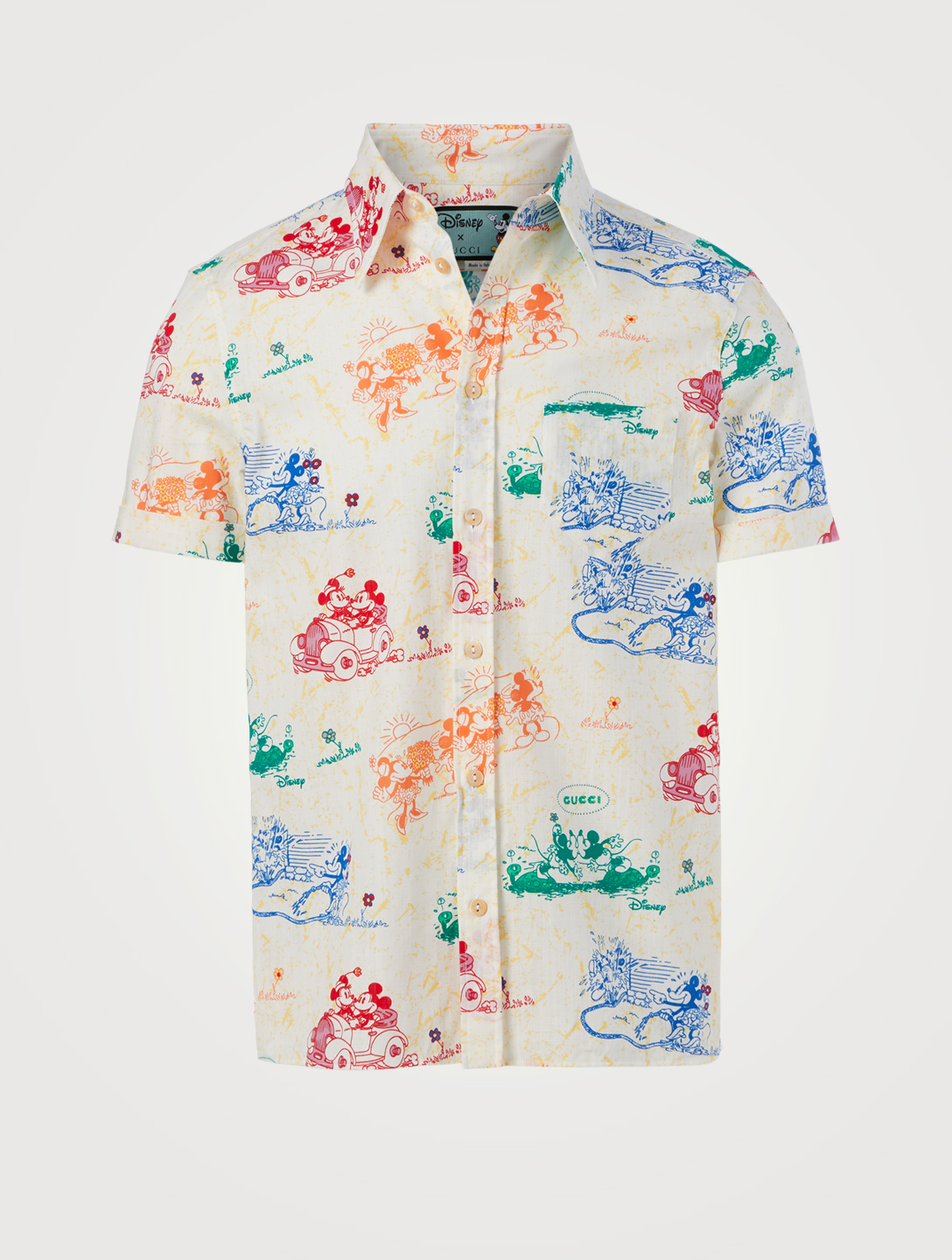 GUCCI DISNEY Cotton Short-Sleeve Shirt Men's White