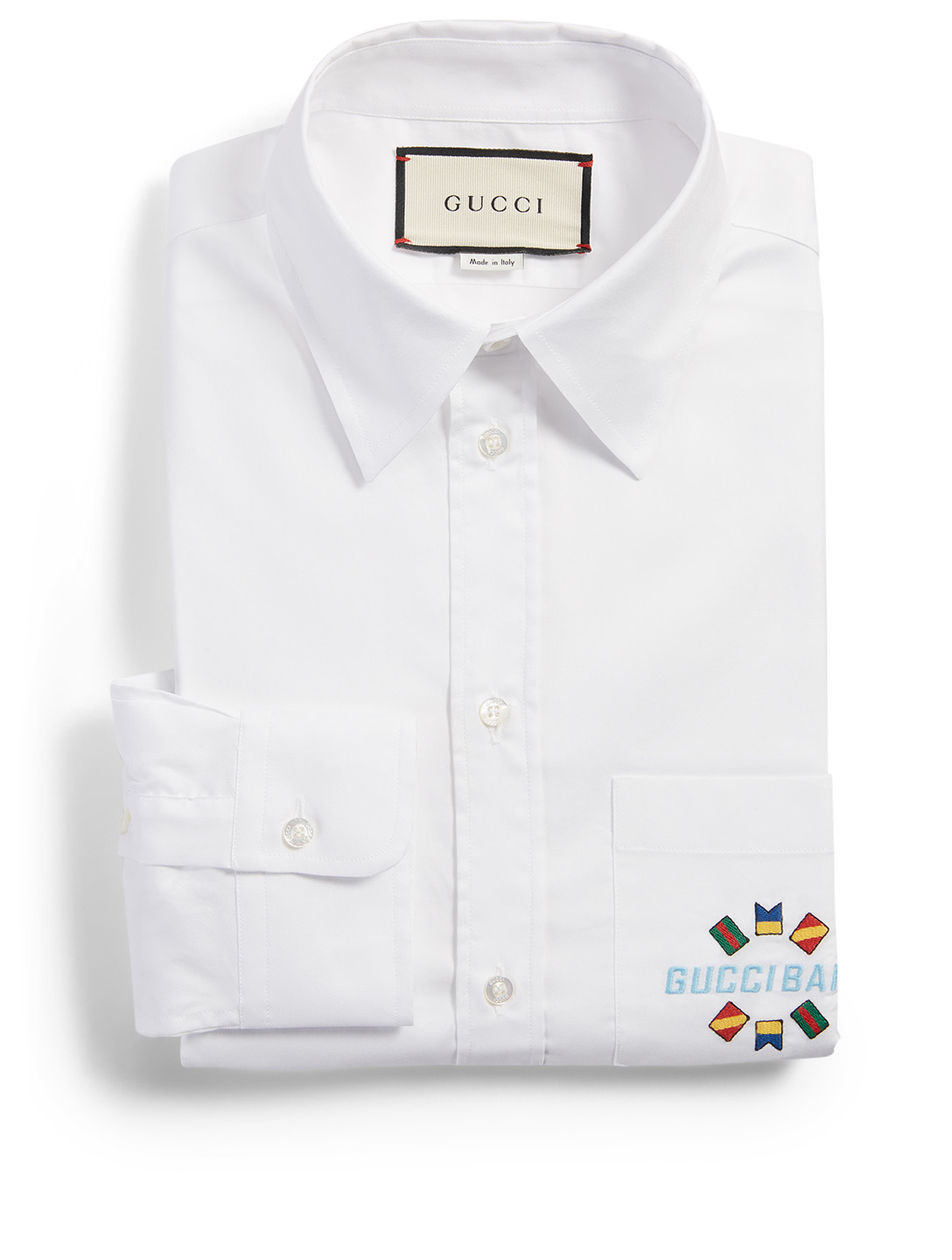 GUCCI Cotton Shirt With GG Crest Men's White