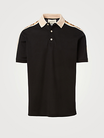GUCCI Polo With Interlocking G Stripe Men's Black