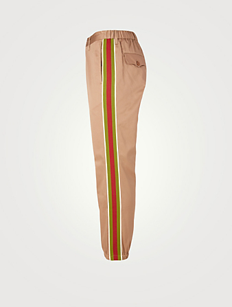 GUCCI Cotton Pants With Stripes Men's Beige