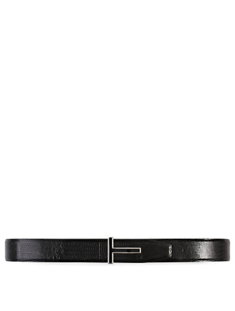 TOM FORD Lizard T Buckle Belt Men's Black