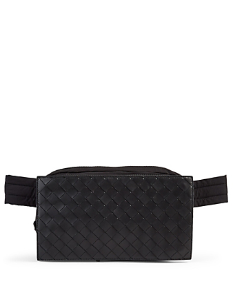 BOTTEGA VENETA Intrecciato Leather Belt Bag Men's Black