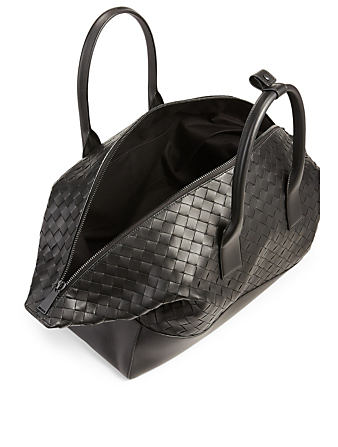 BOTTEGA VENETA Medium Intrecciato Leather Duffle Bag Men's Black