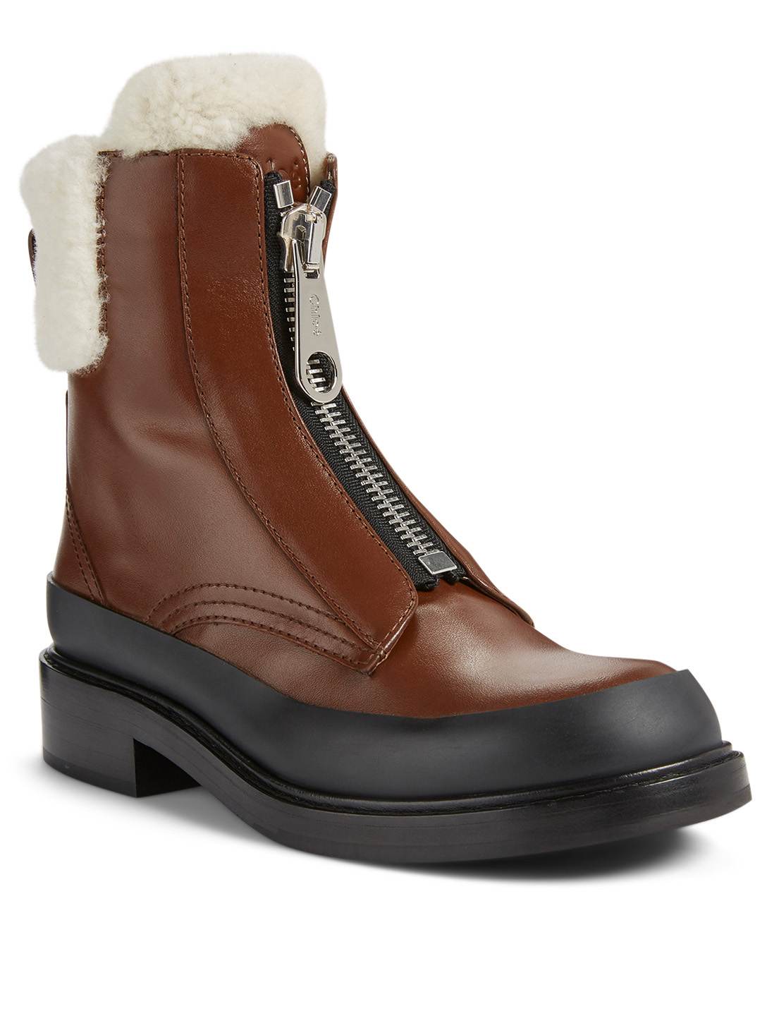 CHLOÉ Roy Leather Zip-Up Ankle Boots With Shearling Women's Brown