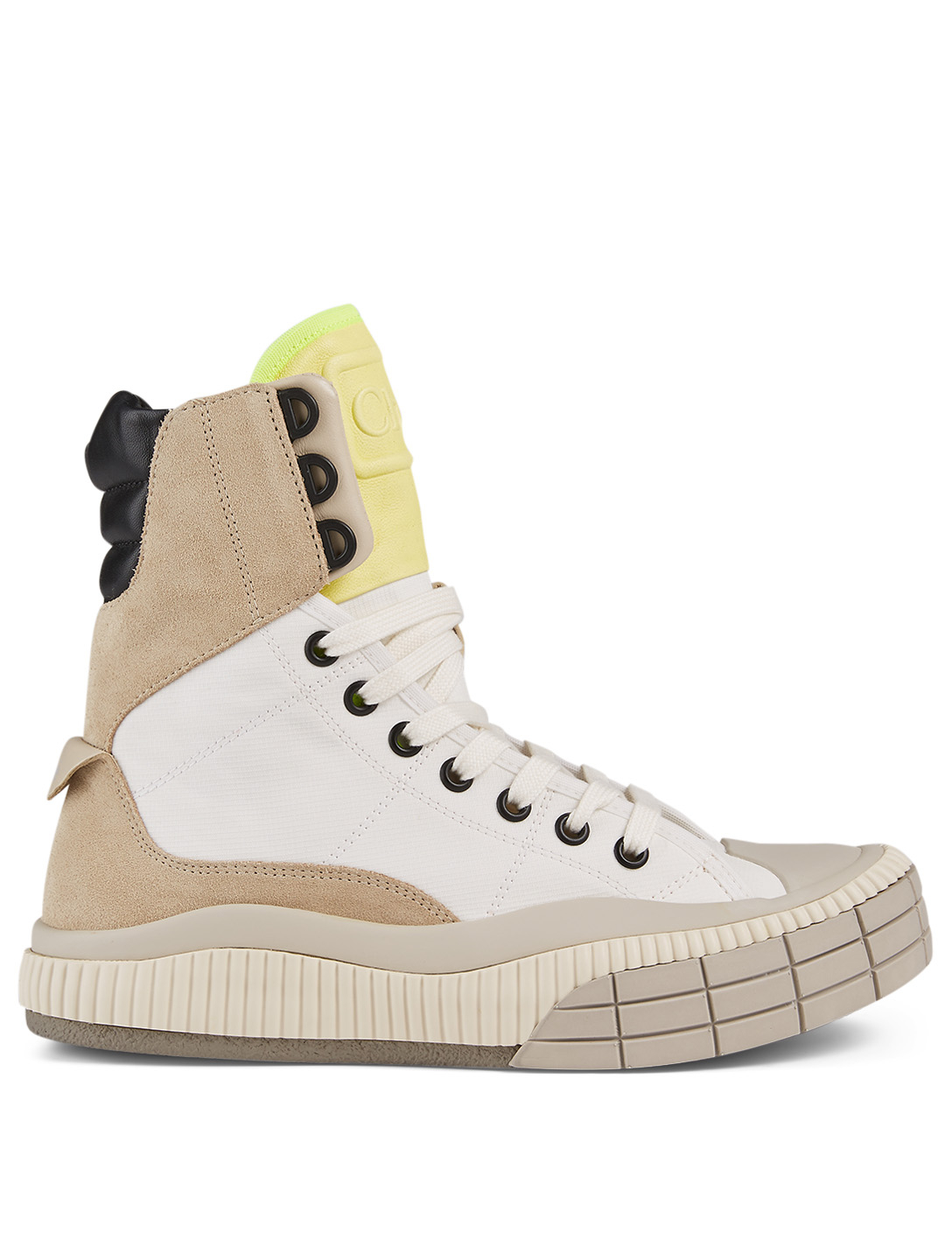 CHLOÉ Clint Canvas And Suede High-Top Sneakers Women's Beige