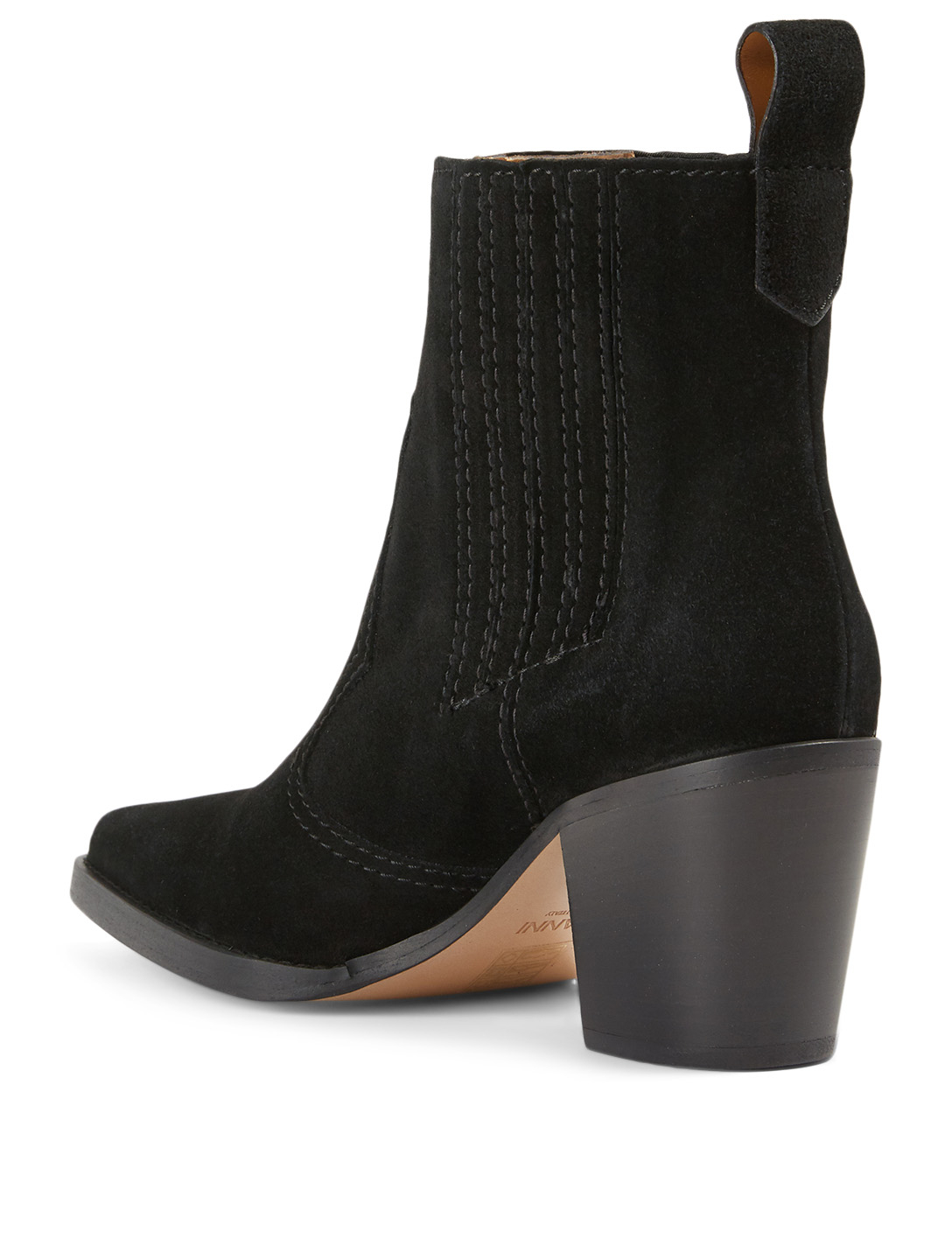GANNI Suede Western Ankle Boots Women's Black