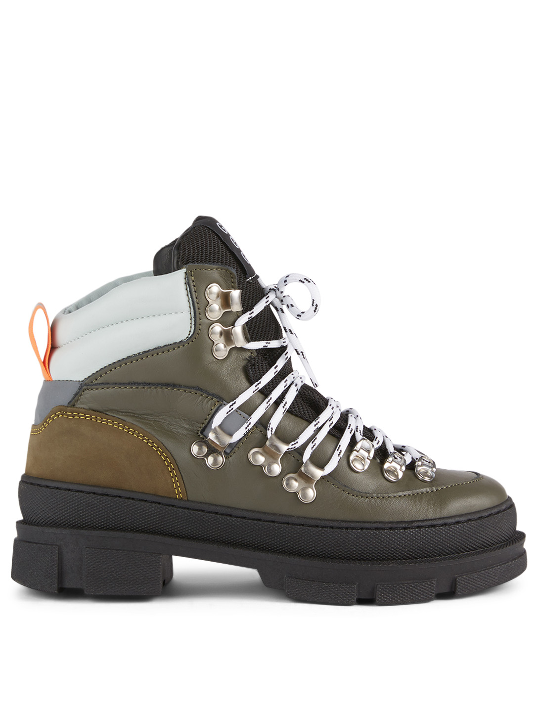 GANNI Sporty Hiking Leather Lace-Up Ankle Boots Women's Green