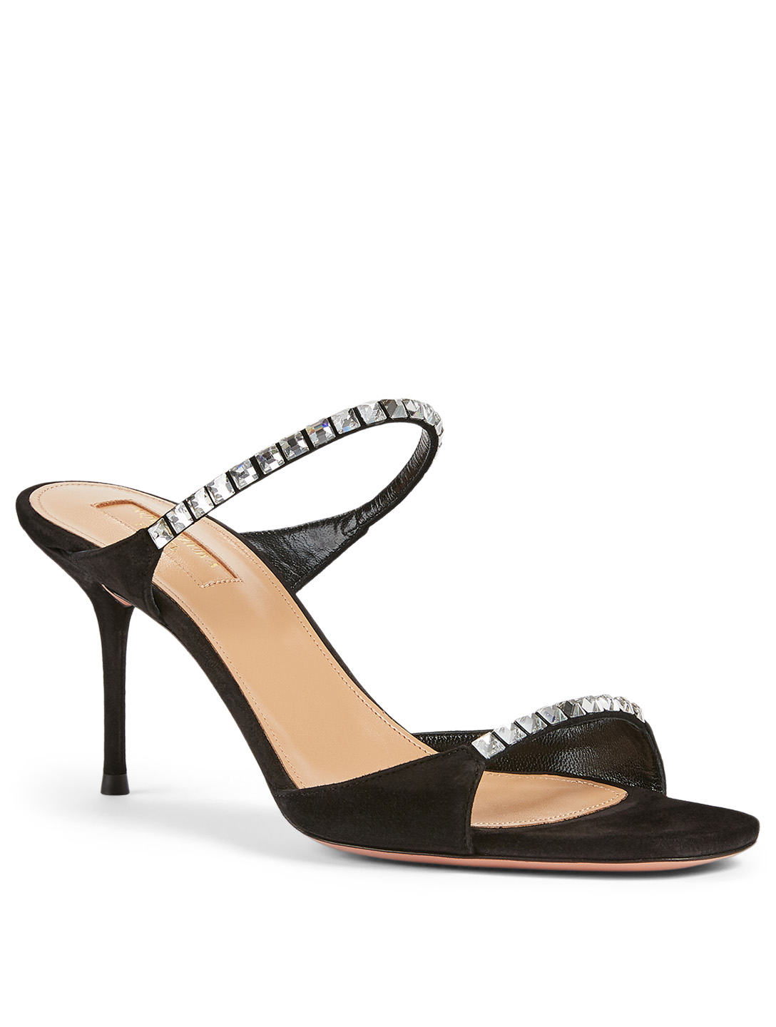 AQUAZZURA Diamante 75 Crystal Suede Heeled Sandals Women's Black
