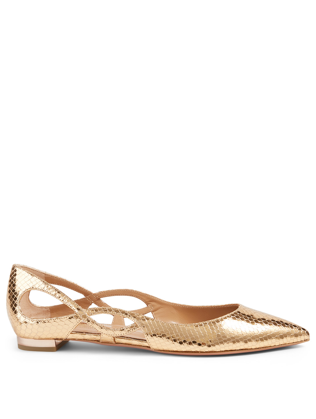 AQUAZZURA Forever Snake-Embossed Metallic Leather Ballet Flats Women's Metallic