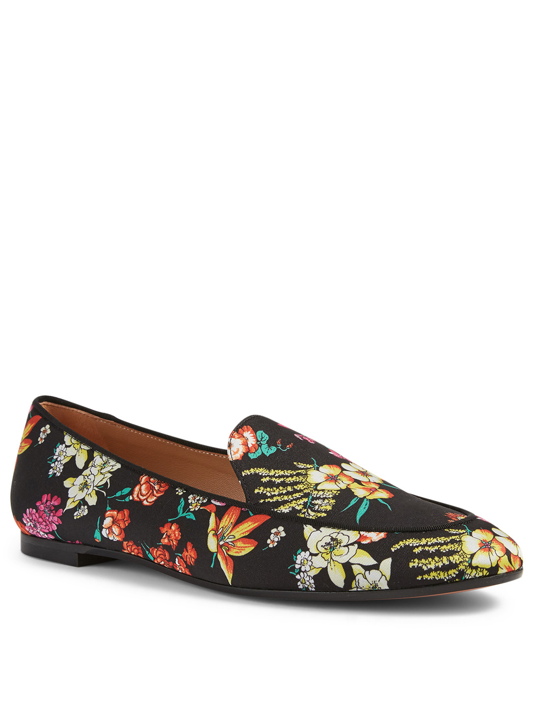 AQUAZZURA Purist Fabric Moccasins In Floral Print Women's Black