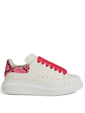 ALEXANDER MCQUEEN Oversized Leather Sneakers With Snake Print Patch Women's Pink