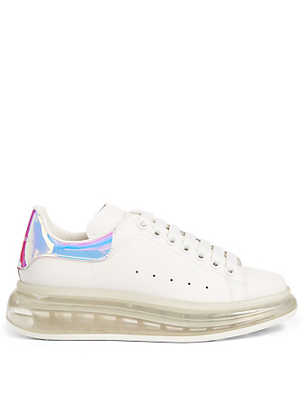 ALEXANDER MCQUEEN Oversized Leather Sneakers With Clear Sole Women's White