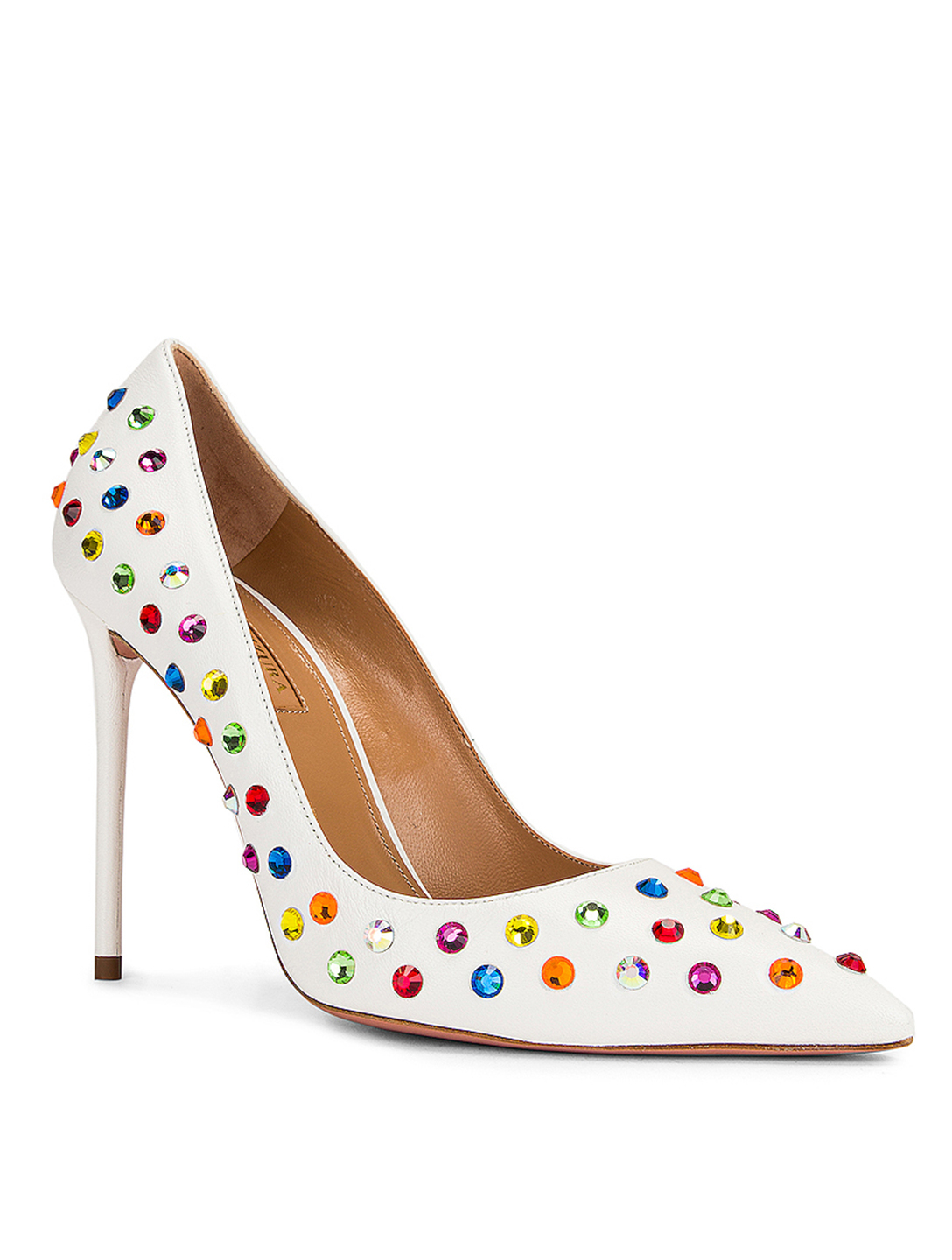AQUAZZURA Disco Summer 105 Crystal Leather Pumps Women's White