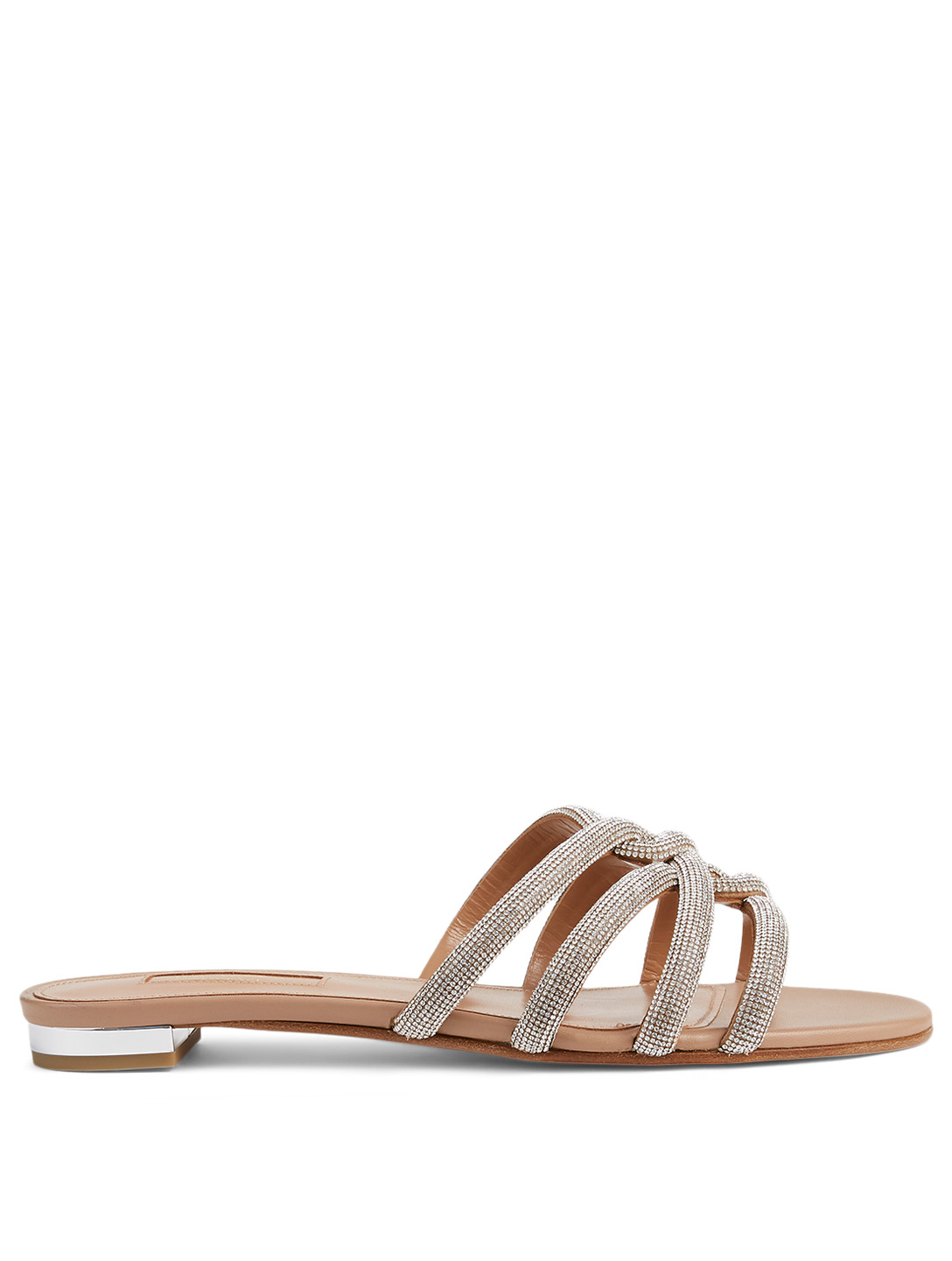 AQUAZZURA Moodust Crystal Leather Slide Sandals Women's Beige
