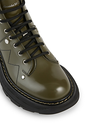 ALEXANDER MCQUEEN Tread Leather Lace-Up Ankle Boots Women's Green