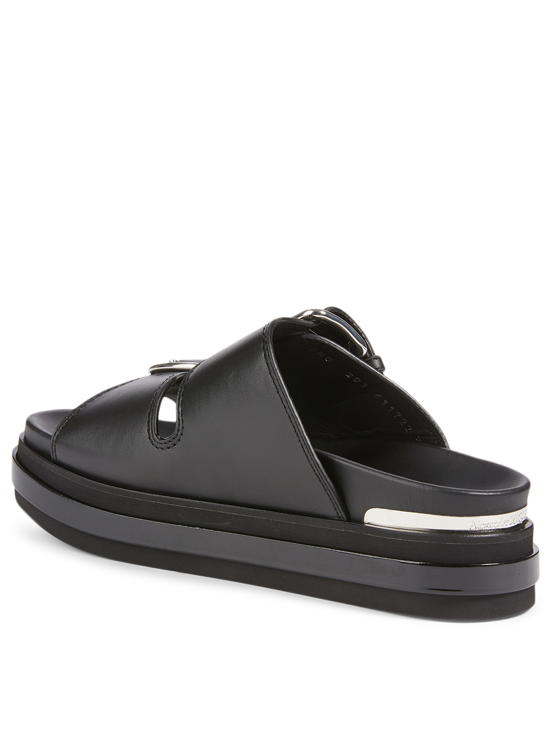 ALEXANDER MCQUEEN Trompe L'Oeil Leather Slide Sandals Women's Black
