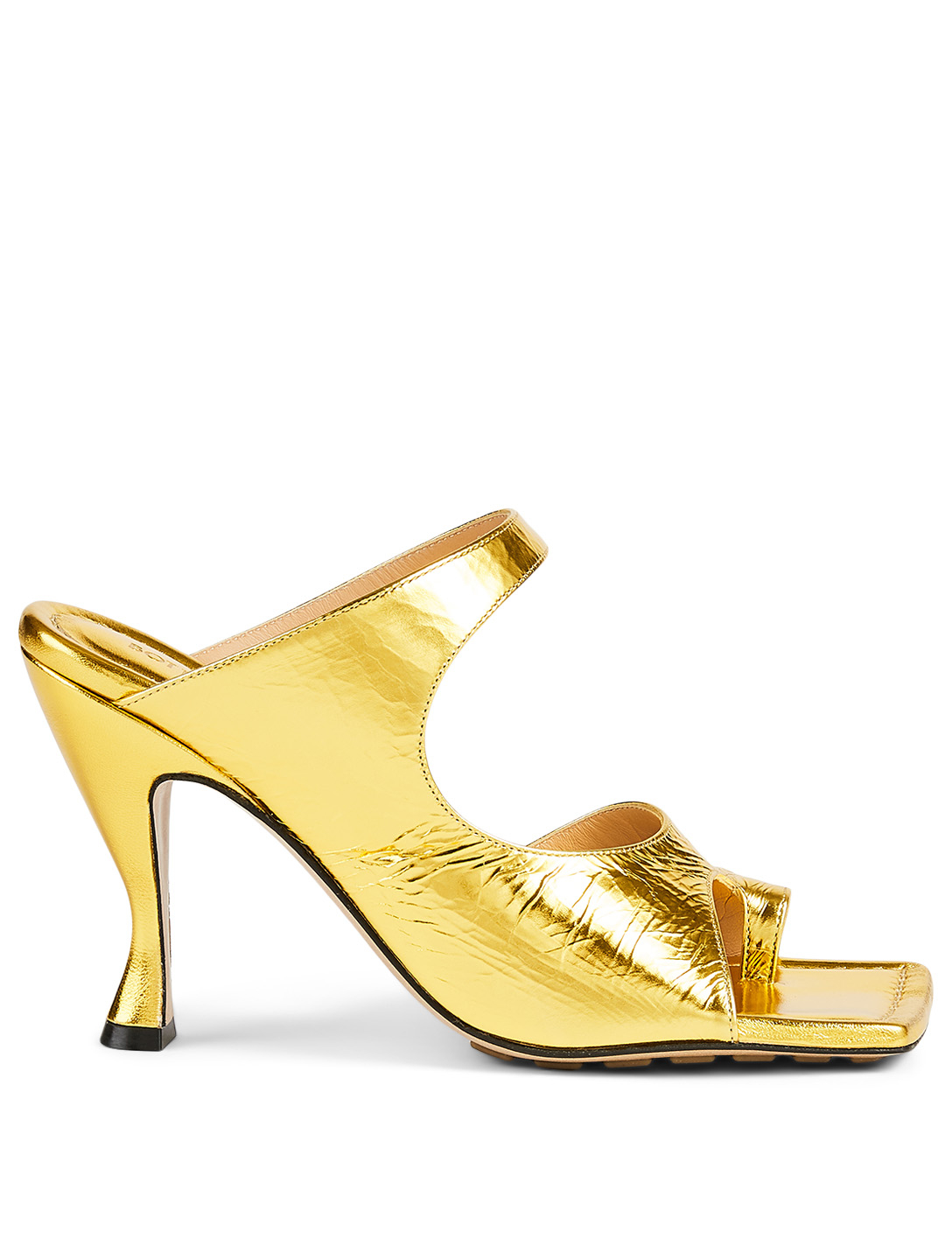 BOTTEGA VENETA Metallic Leather Heeled Mule Sandals Women's Metallic