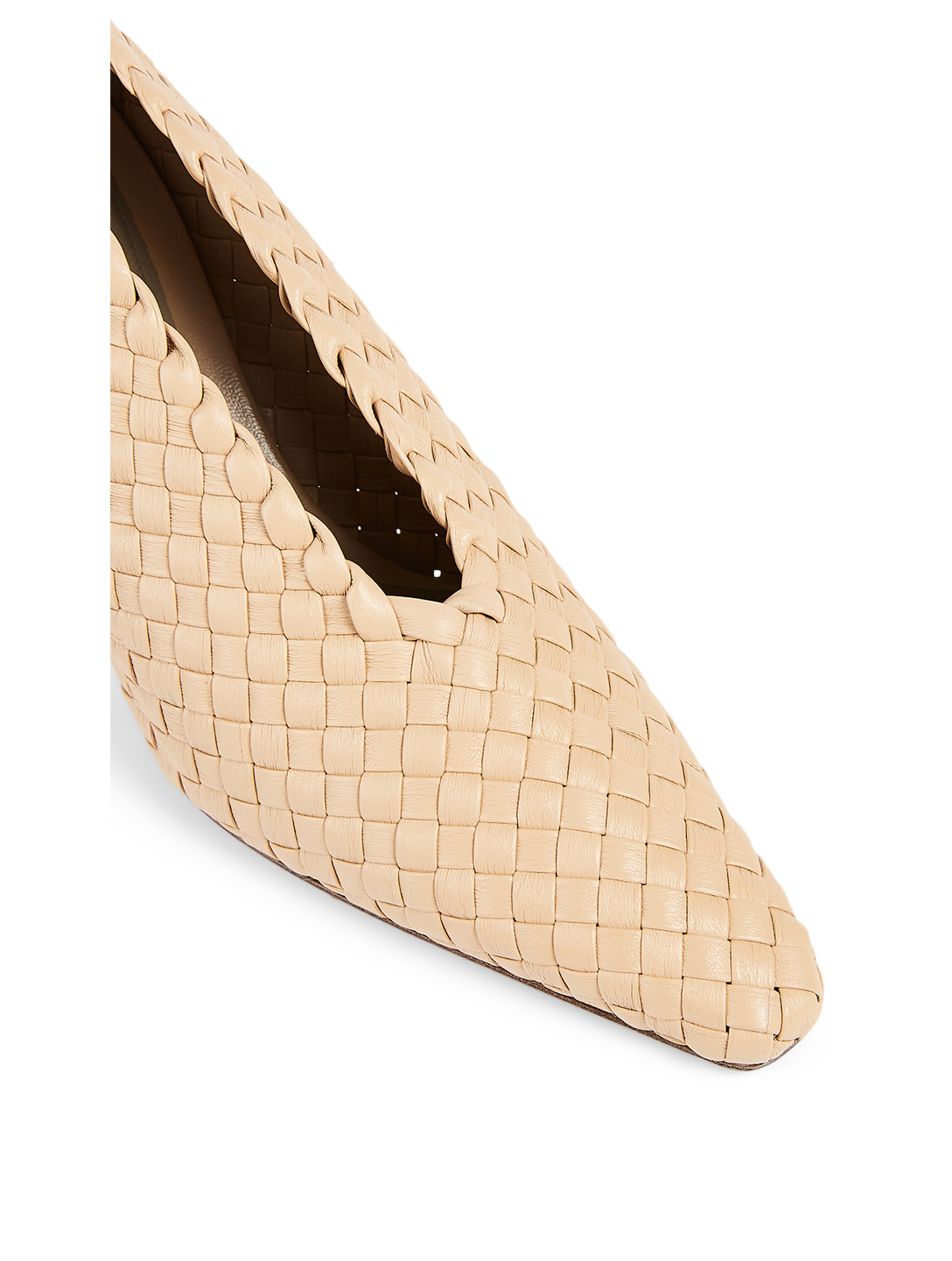BOTTEGA VENETA Almond Intrecciato Leather Pumps Women's Beige