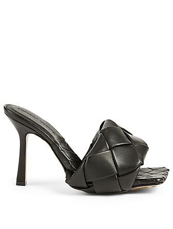 BOTTEGA VENETA The Lido Intrecciato Leather Heeled Mule Sandals Women's Black