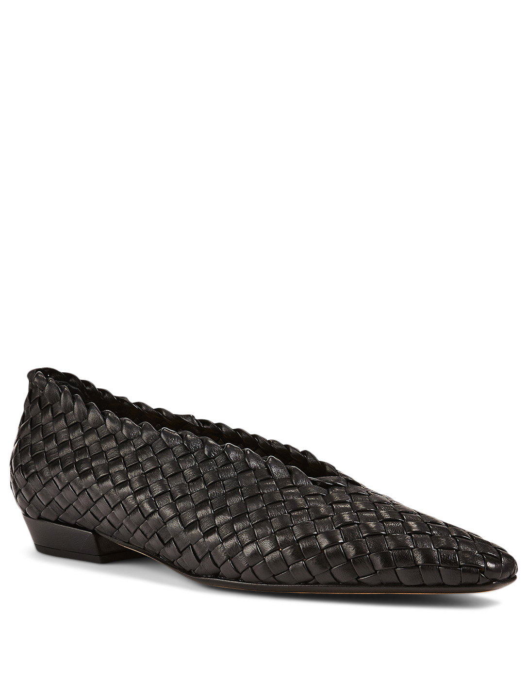 BOTTEGA VENETA Almond Intrecciato Leather Flats Women's Black