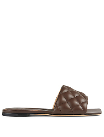 BOTTEGA VENETA Padded Leather Slide Sandals Women's Brown