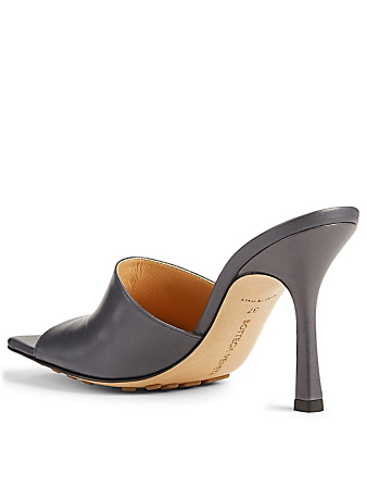 BOTTEGA VENETA Stretch Leather Heeled Mule Sandals Women's Grey