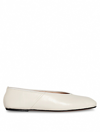 THE ROW Leather Ballet Slippers Women's Beige