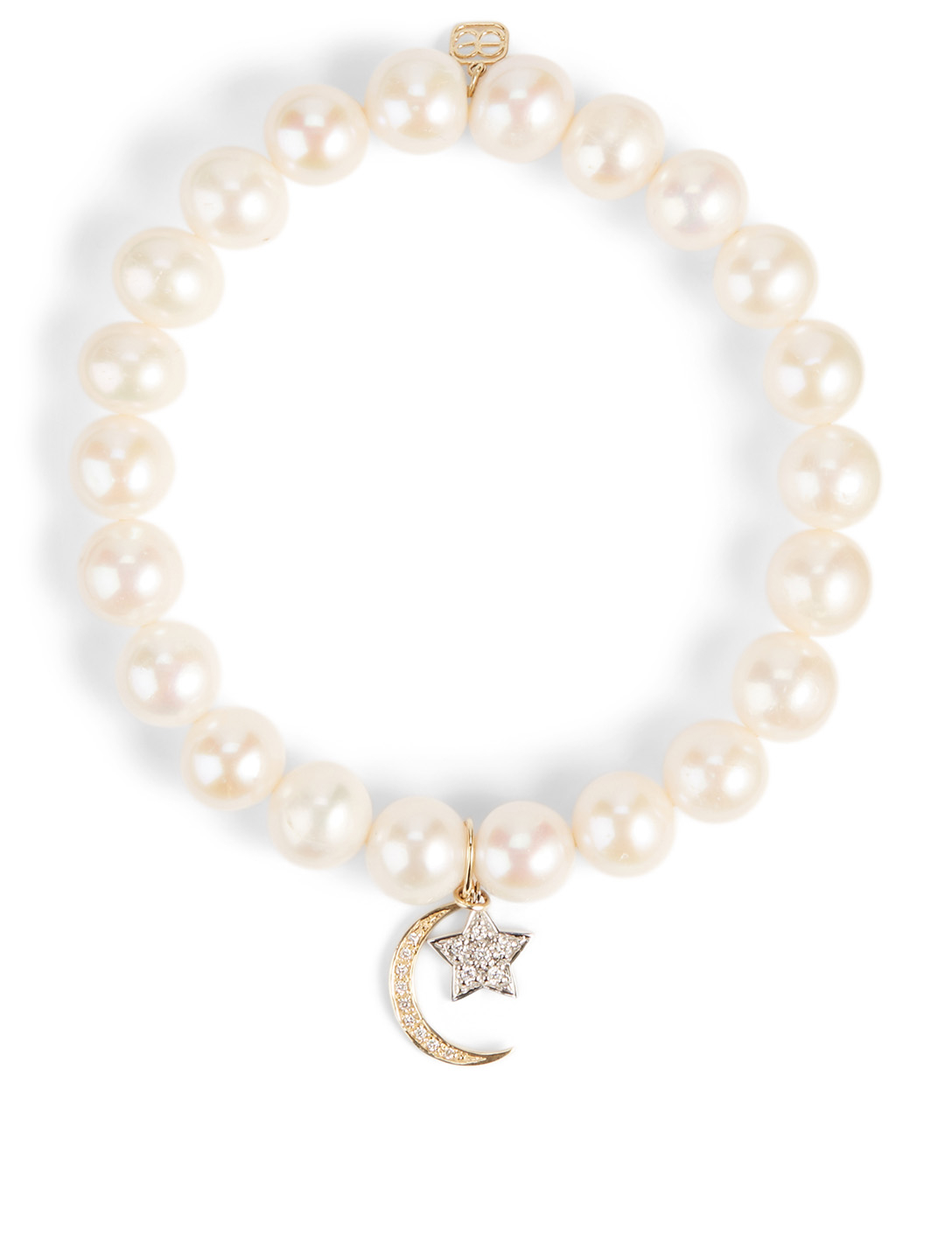 SYDNEY EVAN Pearl Bracelet With 18K Yellow And White Gold Diamond Star And Moon Charms Women's Metallic