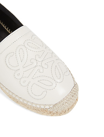 LOEWE Leather Anagram Espadrilles Women's White