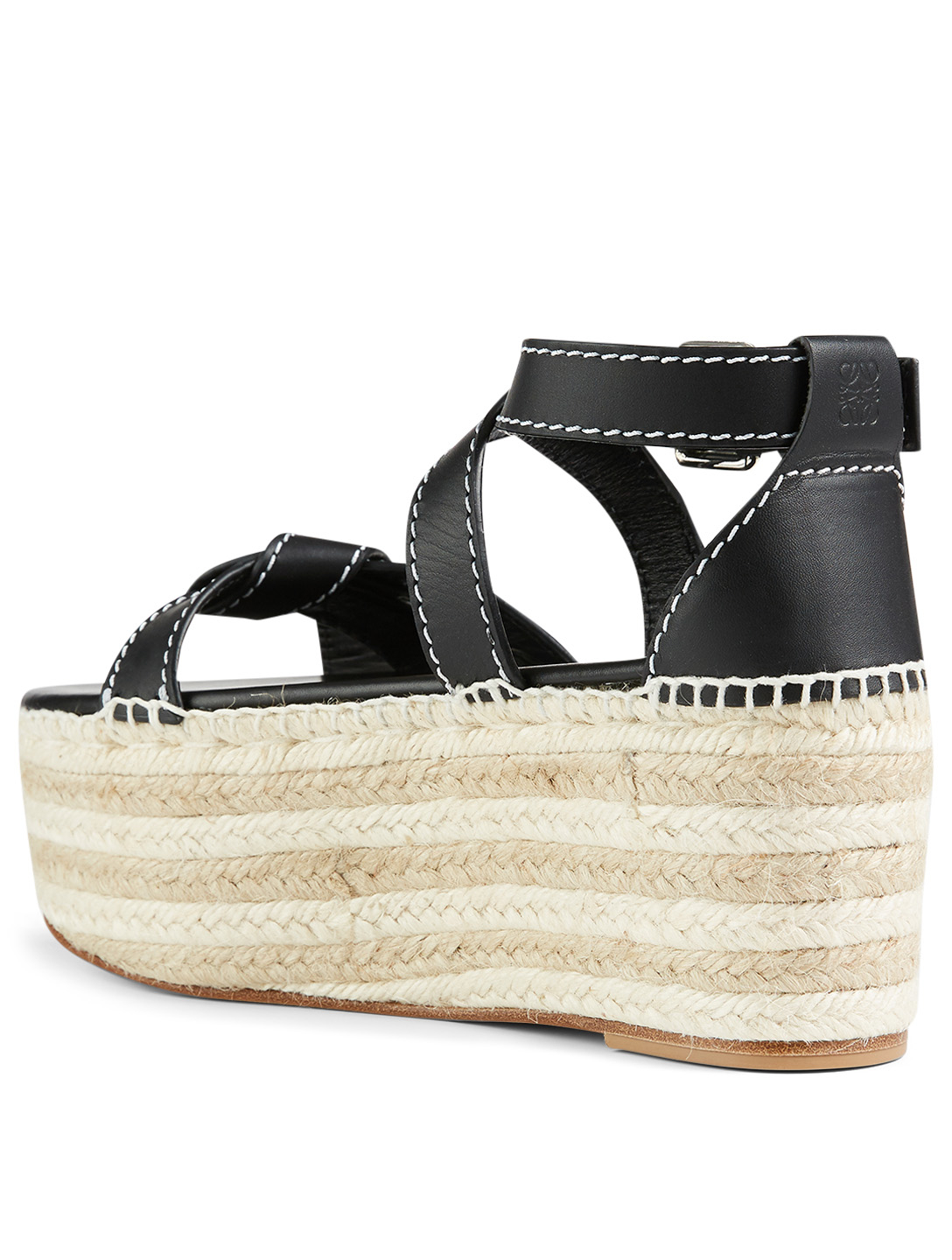 LOEWE Gate Leather Wedge Espadrille Sandals Women's Black