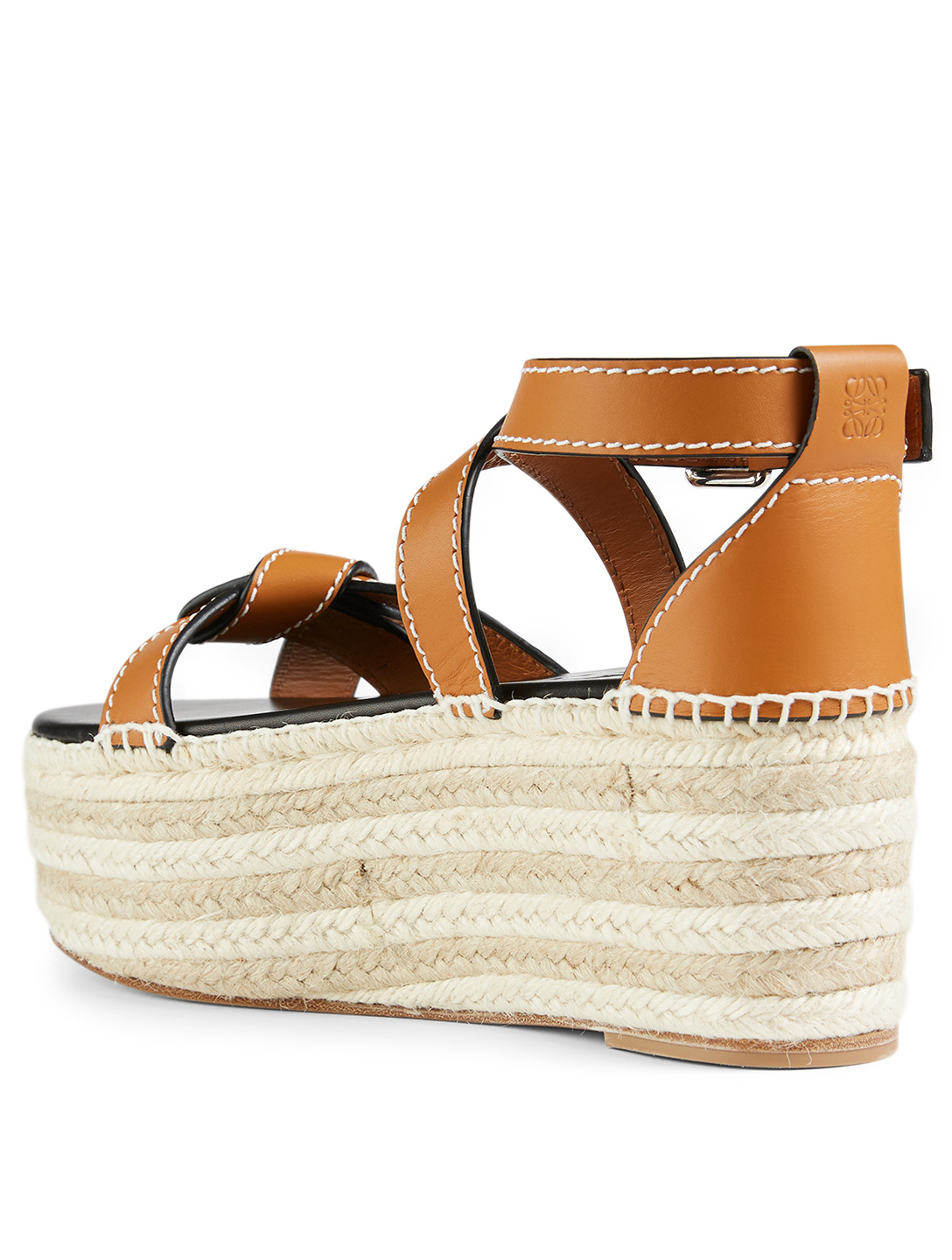 LOEWE Gate Leather Wedge Espadrille Sandals Women's Brown