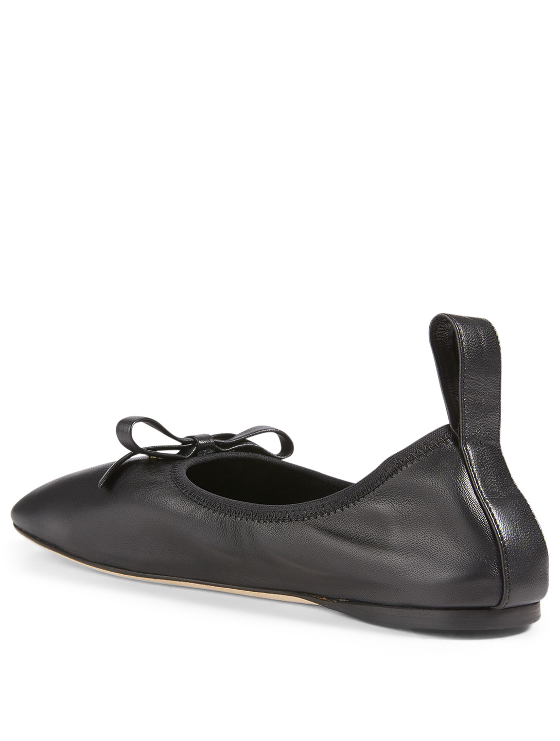 LOEWE Leather Ballet Flats With Bow Women's Black