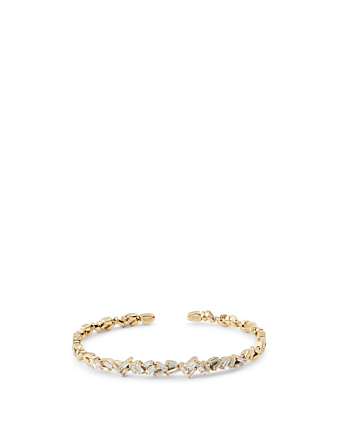 SUZANNE KALAN Rainbow Fireworks 18K Gold Bangle Cuff Bracelet With Diamonds Women's Metallic