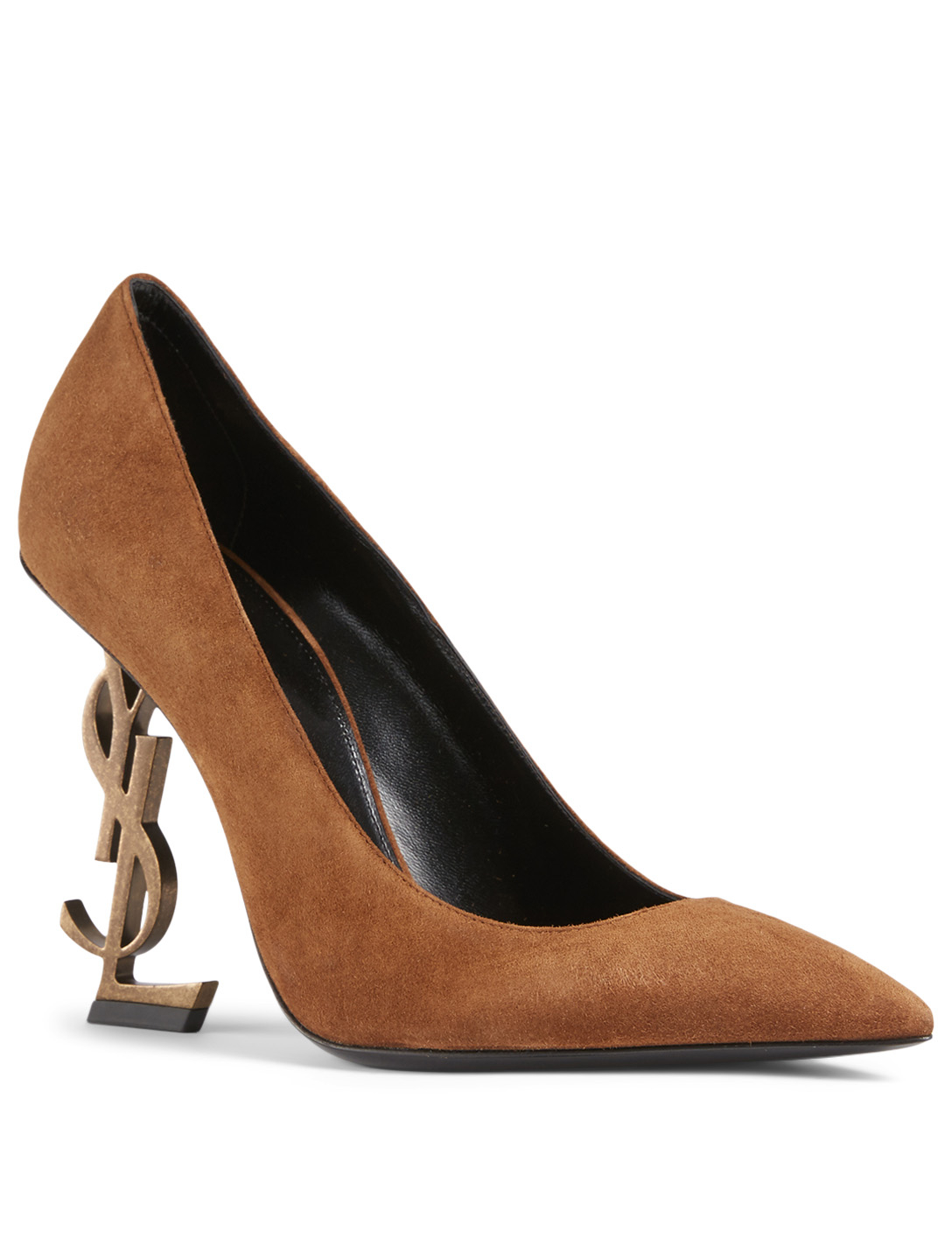 SAINT LAURENT Opyum Suede YSL Heeled Pumps Women's Brown