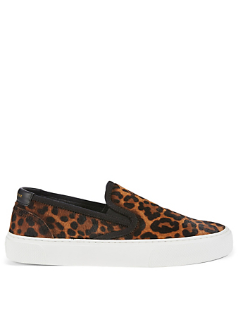 SAINT LAURENT Venice Calf Hair Slip-On Sneakers In Leopard Print Women's Brown