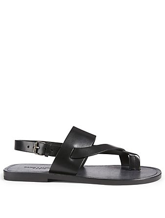 SAINT LAURENT Culver Leather Sandals Women's Black