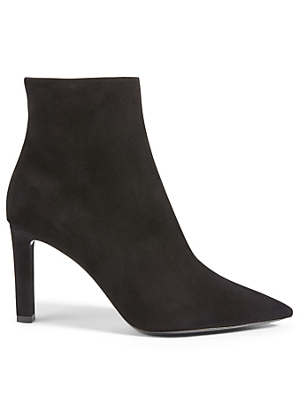 SAINT LAURENT Kate 85 Suede Heeled Ankle Boots Women's Black