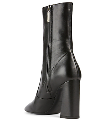 SAINT LAURENT Maddie Leather Heeled Ankle Boots Women's Black