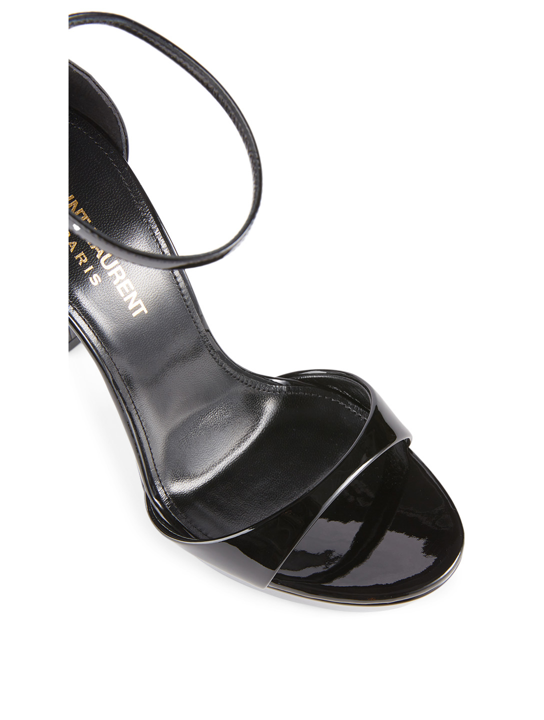 SAINT LAURENT Hall Patent Leather Platform Sandals Women's Black