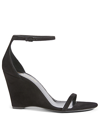 SAINT LAURENT Lila 85 Suede Wedge Sandals Women's Black