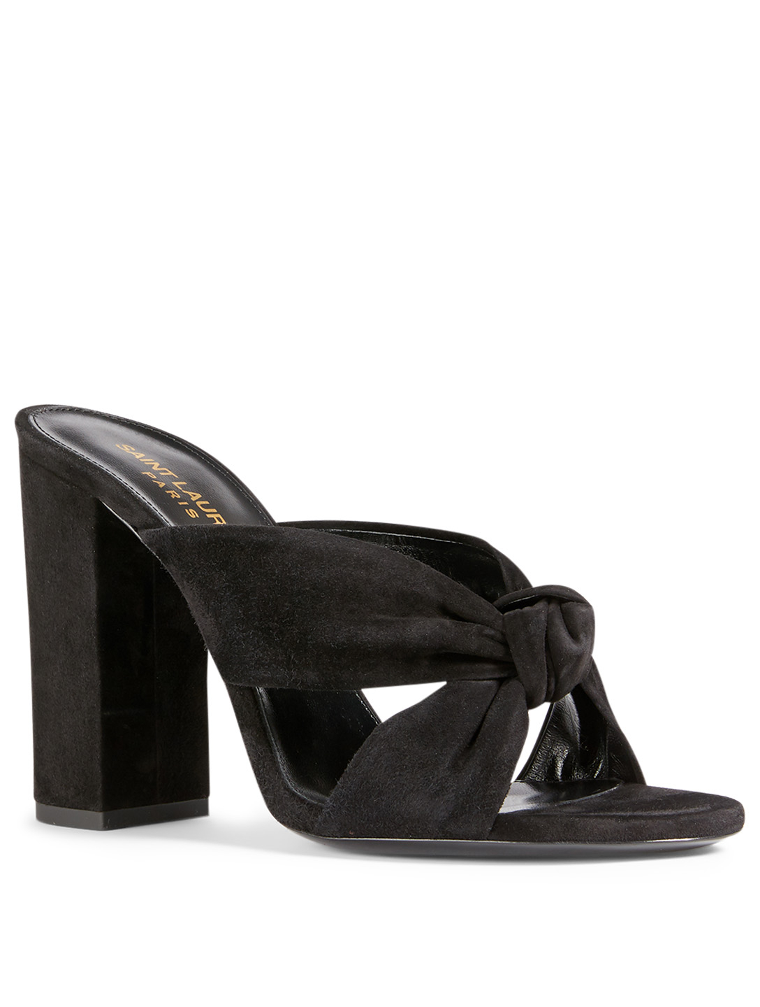SAINT LAURENT LouLou Suede Heeled Mule Sandals Women's Black