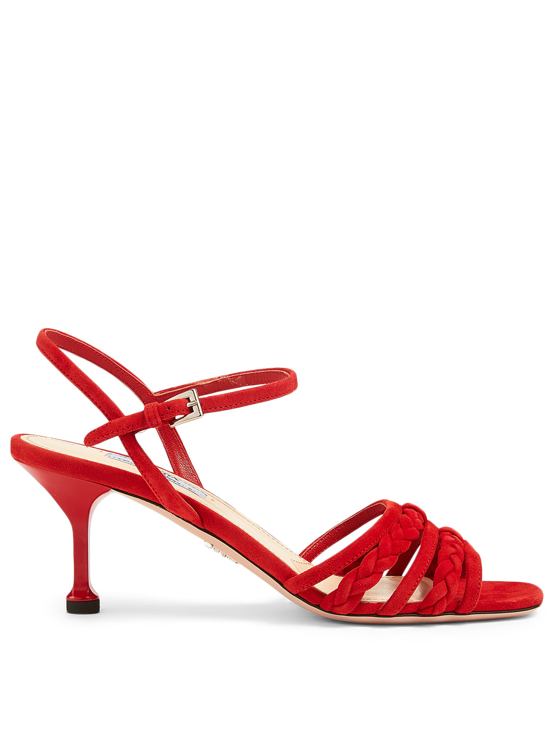 PRADA Braided Leather Heeled Sandals Women's Red