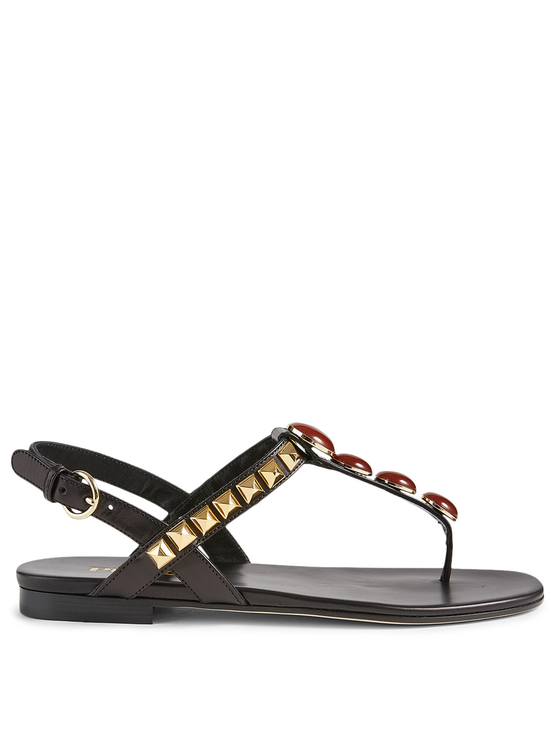 PRADA Studded Leather Thong Sandals With Jewels Women's Black