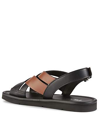PRADA Leather Crisscross Slingback Sandals Women's Black