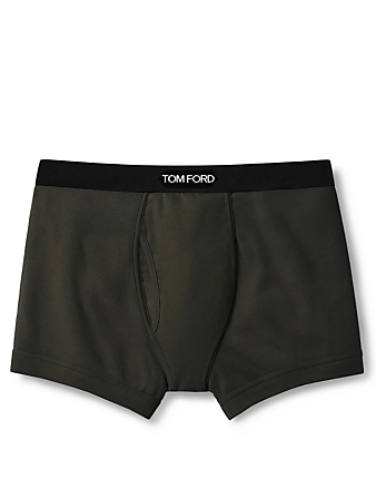 TOM FORD Cotton Stretch Jersey Boxer Briefs With Logo Men's Green