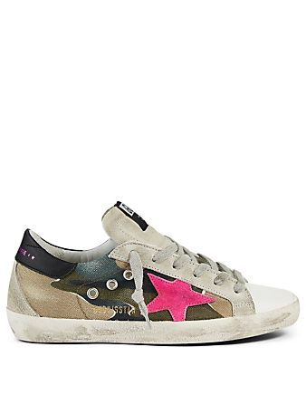 GOLDEN GOOSE Superstar Suede And Canvas Sneakers In Camouflage Women's Green