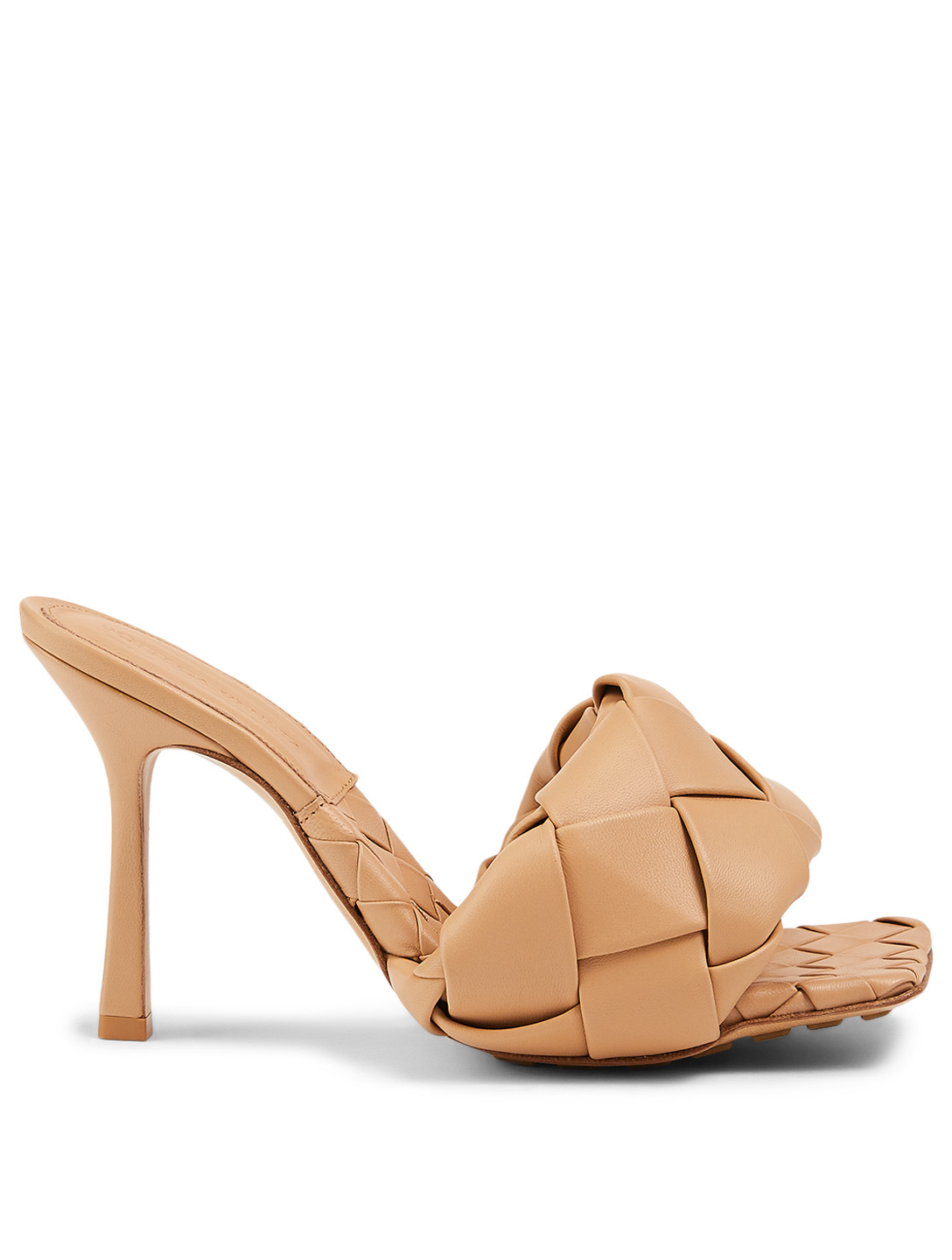 BOTTEGA VENETA BV Lido Intrecciato Leather Heeled Mule Sandals Women's Beige